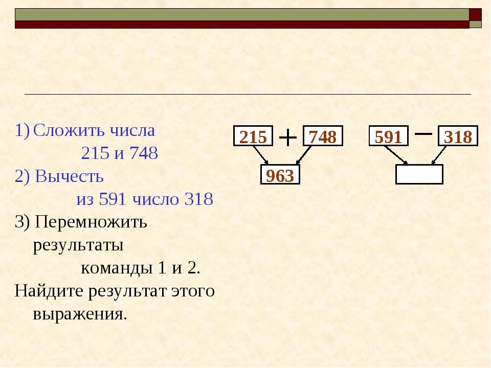 215 748 963 Сложить числа 215 и 748 2) Вычесть из 591 число 318 3) Перемножит...