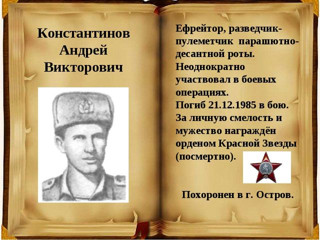 Ефрейтор, разведчик-пулеметчик парашютно-десантной роты. Неоднократно участво...
