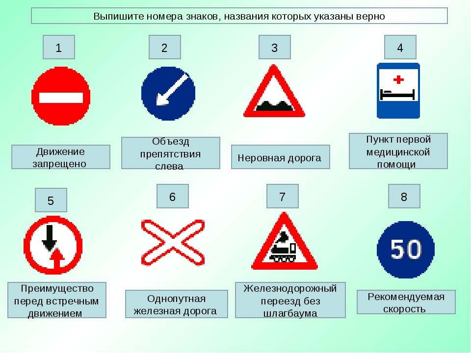 Движение запрещено Преимущество перед встречным движением Неровная дорога Пун...