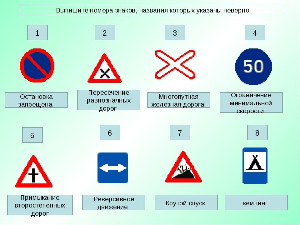 Выпишите номера знаков, названия которых указаны неверно Остановка запрещена...