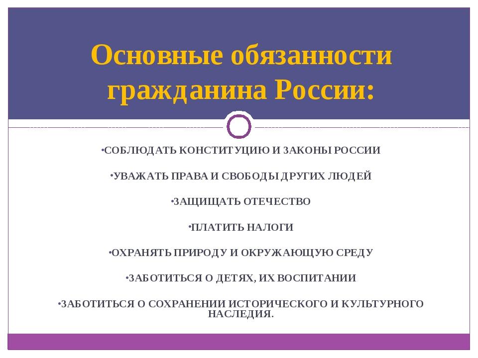 СОБЛЮДАТЬ КОНСТИТУЦИЮ И ЗАКОНЫ РОССИИ УВАЖАТЬ ПРАВА И СВОБОДЫ ДРУГИХ ЛЮДЕЙ ЗА...
