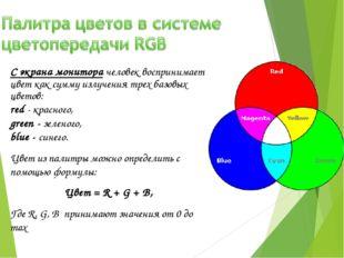 С экрана монитора человек воспринимает цвет как сумму излучения трех базовых