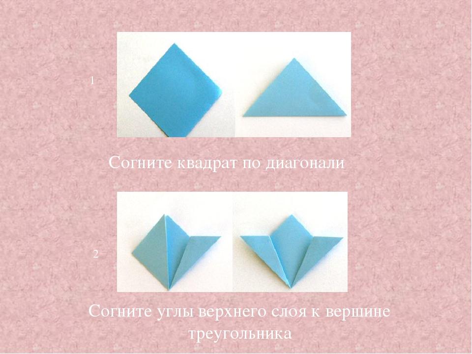 1 2 Согните квадрат по диагонали Согните углы верхнего слоя к вершине треугол...