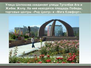 Улица Шопокова соединяет улицы Туголбая Ата и Жибек Жолу. На ней находятся пл