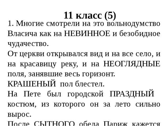 11 класс (5) 1.Многие смотрели на это вольнодумство Власича как на НЕВИННОЕ...