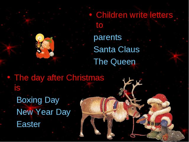 Children write letters to parents Santa Claus The Queen The day after Christm...