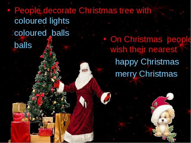 People decorate Christmas tree with coloured lights coloured balls balls On C...
