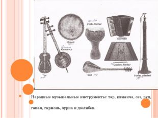 Народные музыкальные инструменты: тар, кяманча, саз, руд, гавал, гармонь, зу