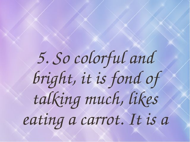 5. So colorful and bright, it is fond of talking much, likes eating a carrot....