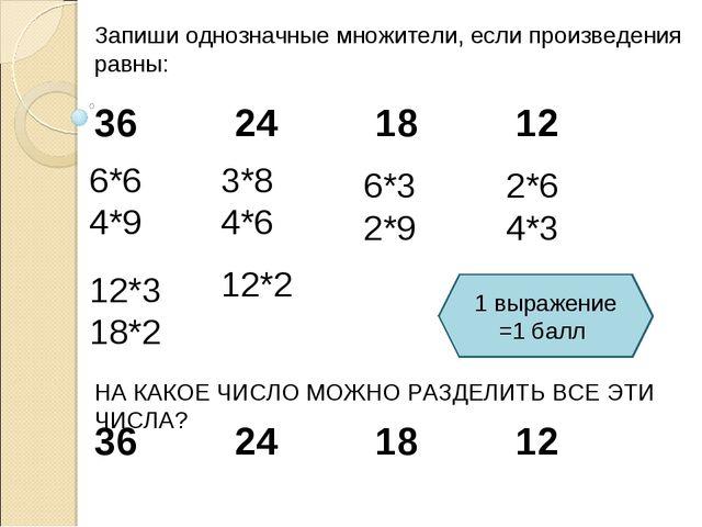 Запиши однозначные множители, если произведения равны: 36241812 6*6 4*9...