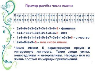 2+6+9+3+3+2+7+3+1=3+6=9 - фамилия 6+4+1+9+1+3+6+2+1=3+3=6 - имя 1+4+6+3+1+1+6