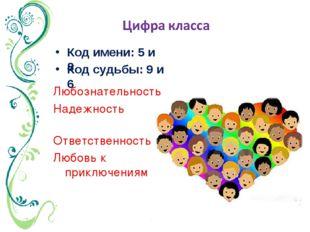 Код имени: 5 и 8 Любознательность Надежность Ответственность Любовь к приключ