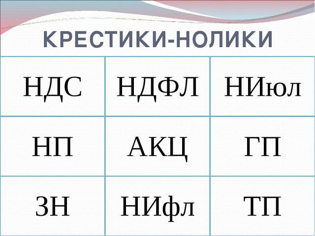 КРЕСТИКИ-НОЛИКИ НДСНДФЛНИюл НПАКЦГП ЗННИфлТП