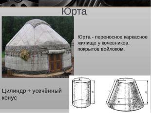 Юрта Цилиндр + усечённый конус Юрта - переносное каркасное жилище у кочевнико