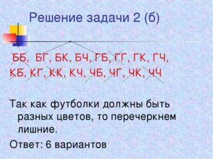 Решение задачи 2 (б) ББ, БГ, БК, БЧ, ГБ, ГГ, ГК, ГЧ, КБ, КГ, КК, КЧ, ЧБ, ЧГ,
