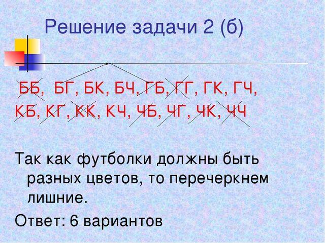 Решение задачи 2 (б) ББ, БГ, БК, БЧ, ГБ, ГГ, ГК, ГЧ, КБ, КГ, КК, КЧ, ЧБ, ЧГ,...