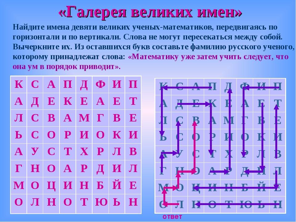 «Галерея великих имен» ответ Найдите имена девяти великих ученых-математиков,...