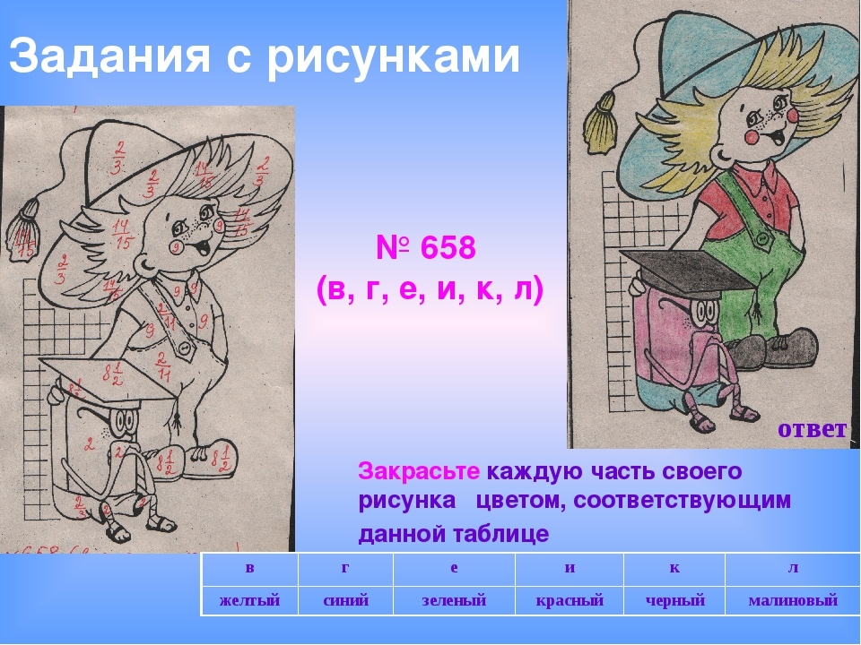 Закрасьте каждую часть своего рисунка цветом, соответствующим данной таблице...