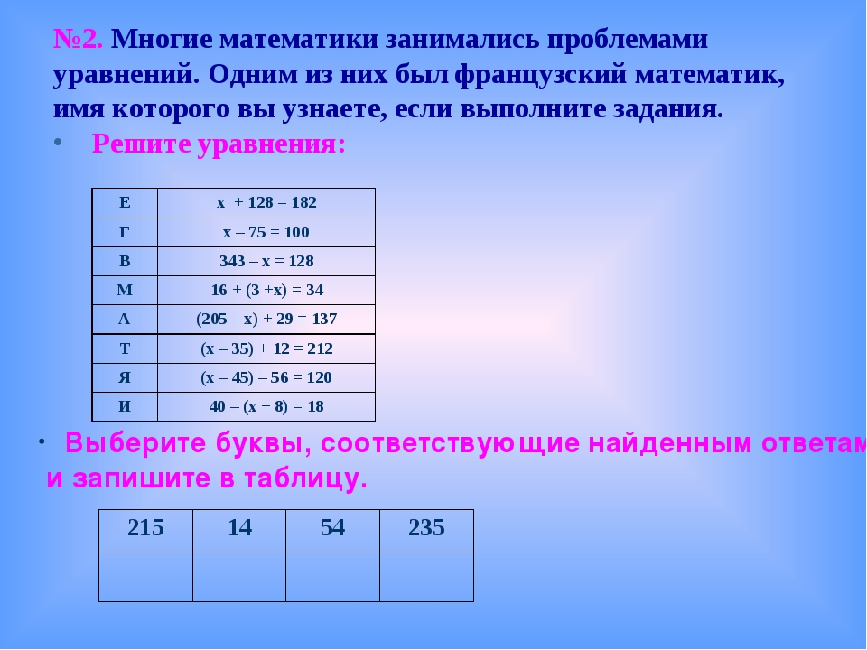 №2. Многие математики занимались проблемами уравнений. Одним из них был франц...