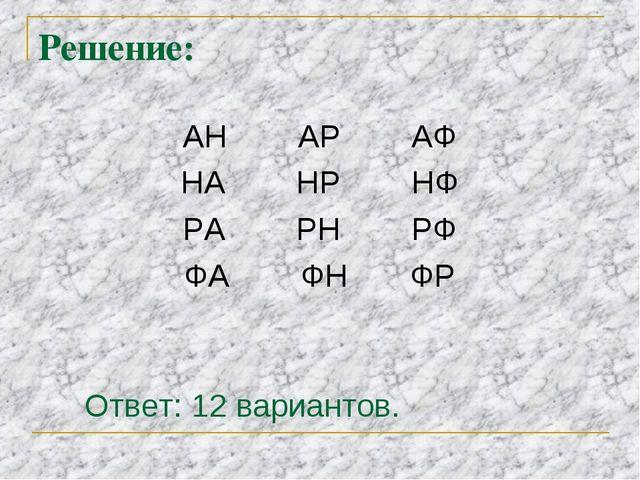 Решение: АН АР АФ НА HP НФ РА РН РФ ФА ФН ФР Ответ: 12 вариантов.