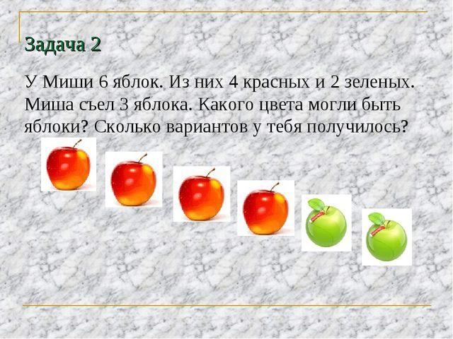 Задача 2 У Миши 6 яблок. Из них 4 красных и 2 зеленых. Миша съел 3 яблока. Ка...