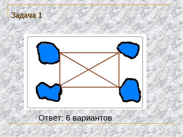 Задача 1 Ответ: 6 вариантов