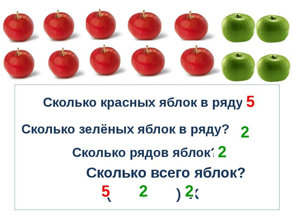 Сколько красных яблок в ряду? Сколько зелёных яблок в ряду? Сколько рядов яб...