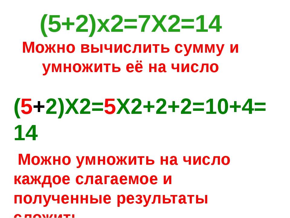 (5+2)Х2=5Х2+2+2=10+4=14 Можно умножить на число каждое слагаемое и полученные...