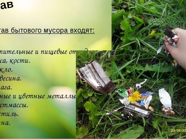 Состав В состав бытового мусора входят: 1. Растительные и пищевые отходы. 2....