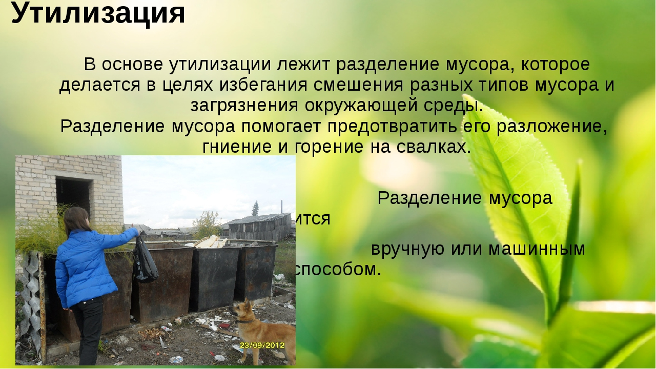 Утилизация В основе утилизации лежит разделение мусора, которое делается в це...