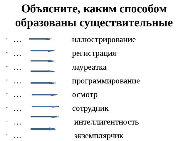 Объясните, каким способом образованы существительные … иллюстрирование … реги...