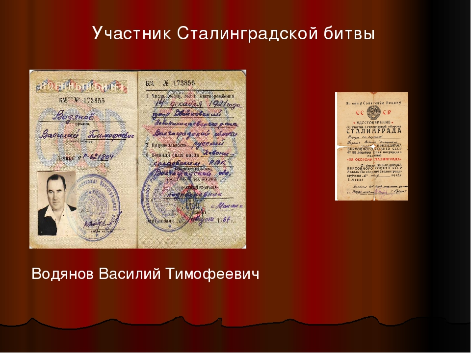 Водянов Василий Тимофеевич Участник Сталинградской битвы