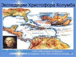 Экспедиции Христофора Колумба 1492-1493г первая экспедиция, 1493-1496г вторая