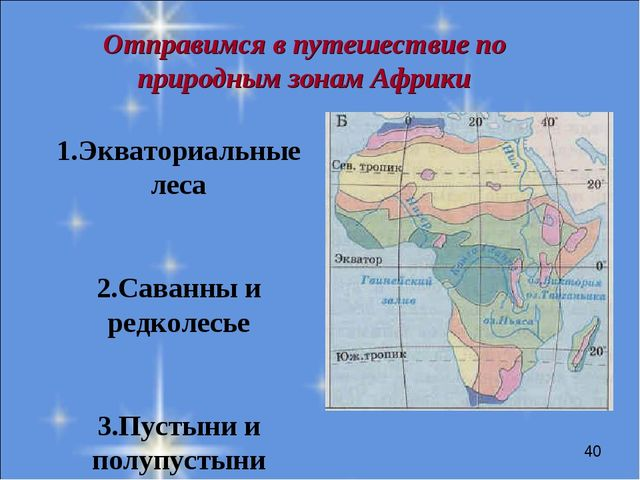 Отправимся в путешествие по природным зонам Африки 1.Экваториальные леса 2.Са...