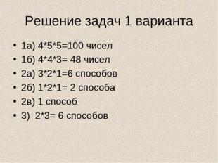 Решение задач 1 варианта 1а) 4*5*5=100 чисел 1б) 4*4*3= 48 чисел 2а) 3*2*1=6