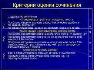 Критерии оценки сочинения К1 К2 К3Содержание сочинения Формулировка проблемы