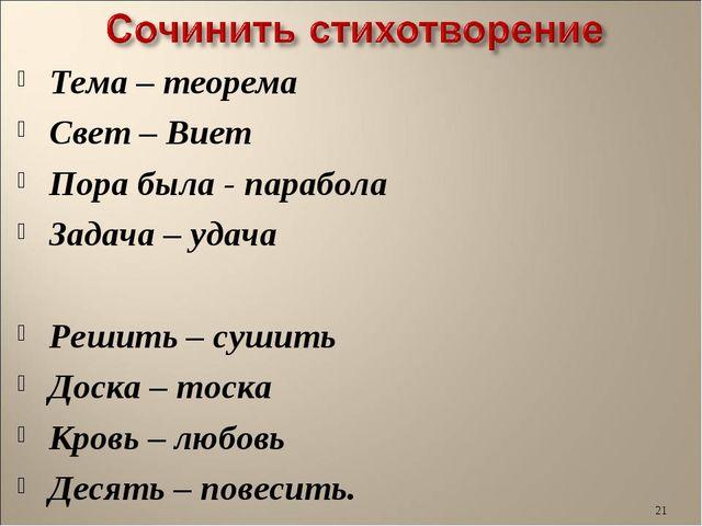 Тема – теорема Свет – Виет Пора была - парабола Задача – удача Решить – сушит...