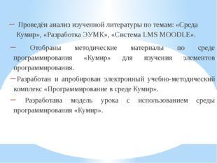 Проведён анализ изученной литературы по темам: «Среда Кумир», «Разработка ЭУ