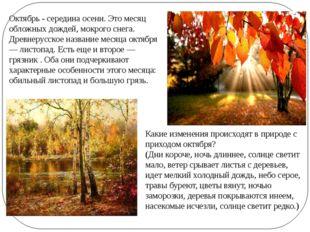 Октябрь - середина осени. Это месяц обложных дождей, мокрого снега. Древнерус