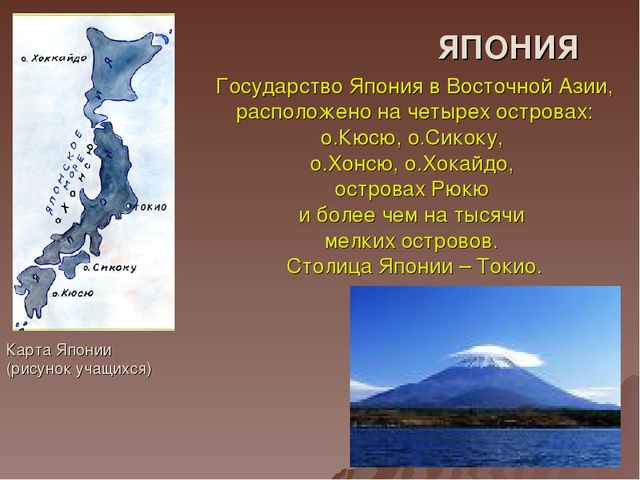 ЯПОНИЯ Карта Японии (рисунок учащихся) Государство Япония в Восточной Азии, р...
