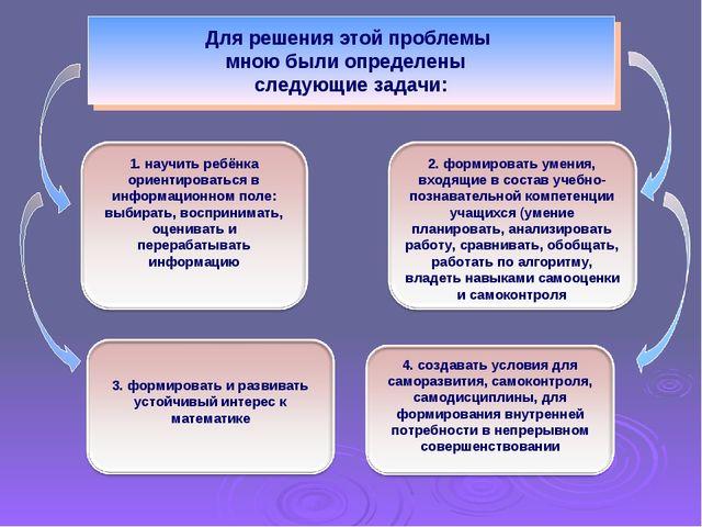 Для решения этой проблемы мною были определены следующие задачи: