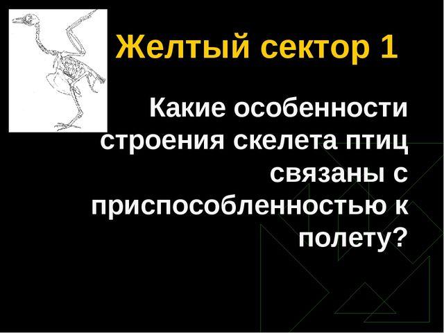 Желтый сектор 1 Какие особенности строения скелета птиц связаны с приспособле...