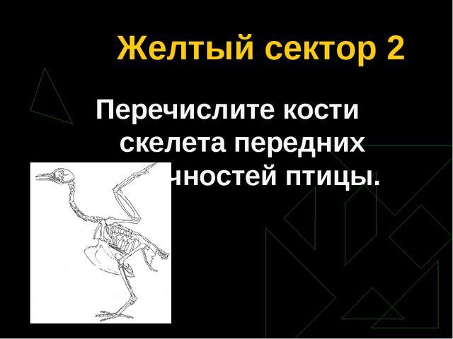 Желтый сектор 2 Перечислите кости скелета передних конечностей птицы.