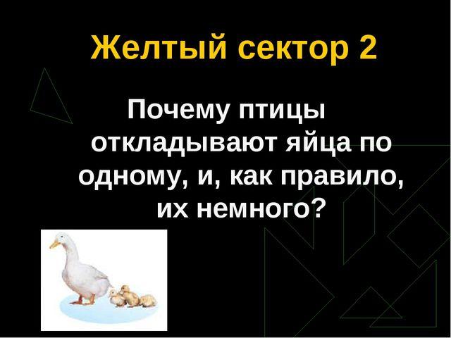 Желтый сектор 2 Почему птицы откладывают яйца по одному, и, как правило, их н...