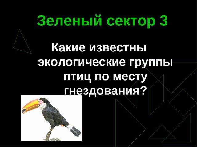 Зеленый сектор 3 Какие известны экологические группы птиц по месту гнездования?