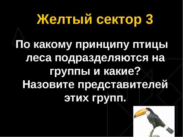 Желтый сектор 3 По какому принципу птицы леса подразделяются на группы и каки...
