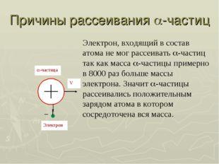 Причины рассеивания -частиц Электрон, входящий в состав атома не мог рассеив