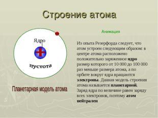 Строение атома Ядро Из опыта Резерфорда следует, что атом устроен следующим о