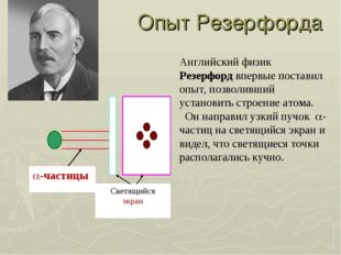 Опыт Резерфорда Английский физик Резерфорд впервые поставил опыт, позволивший