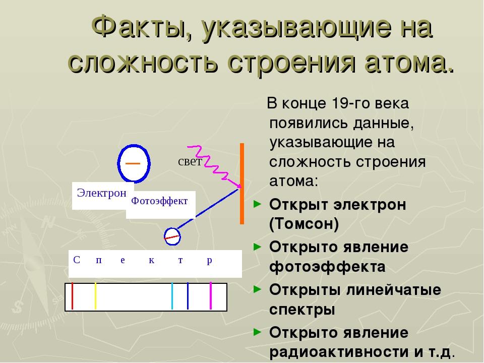 Факты, указывающие на сложность строения атома. В конце 19-го века появились...